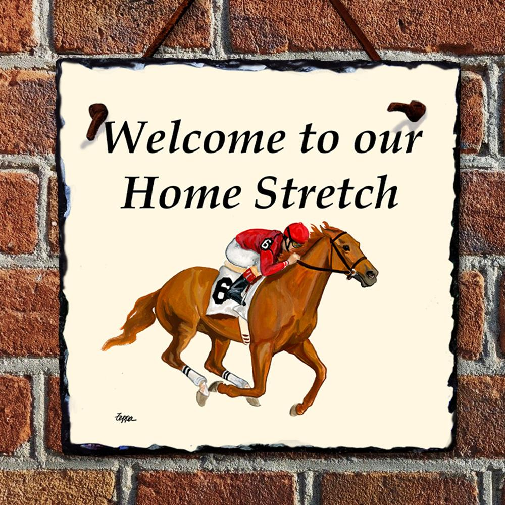 Horse Racing Home Stretch Hanging Slate Sign