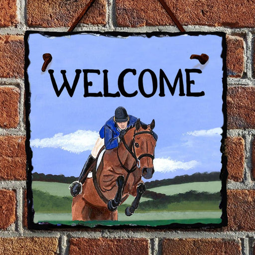 Hunter Jumper Welcome Hanging Slate Sign