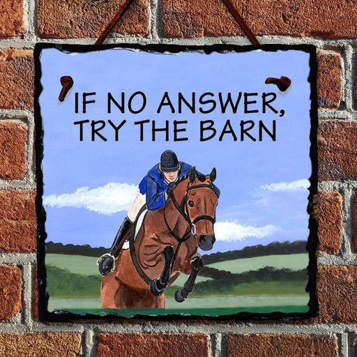 Hunter Jumper At the Barn Hanging Slate Sign