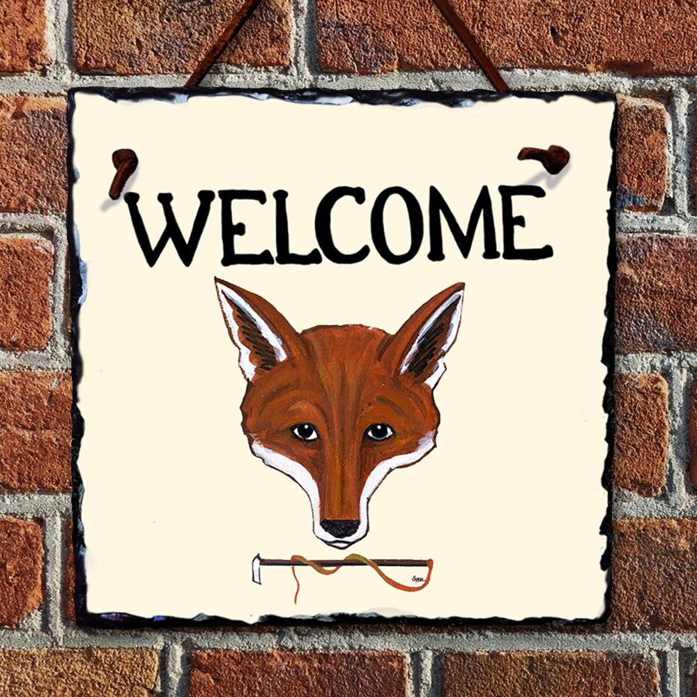 Red Fox Welcome Hanging Slate Sign