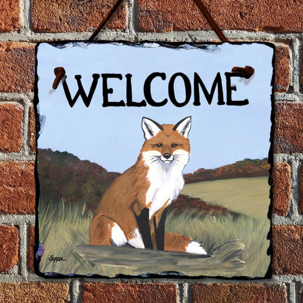 Sitting Fox Welcome Hanging Slate Sign