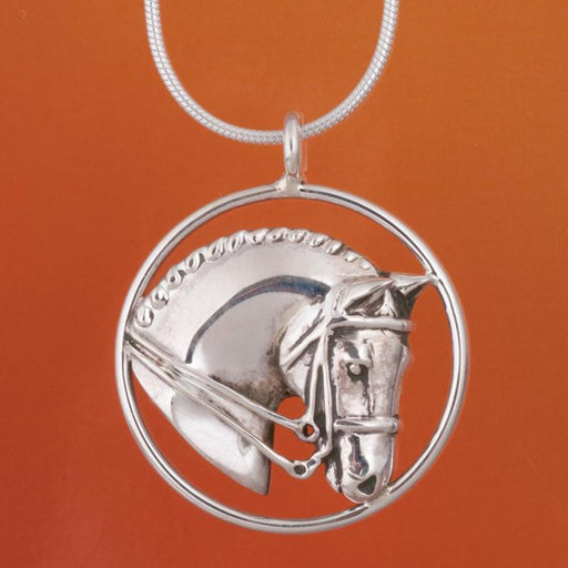 Dressage Horse Silver Circle Pendant by Jane Heart