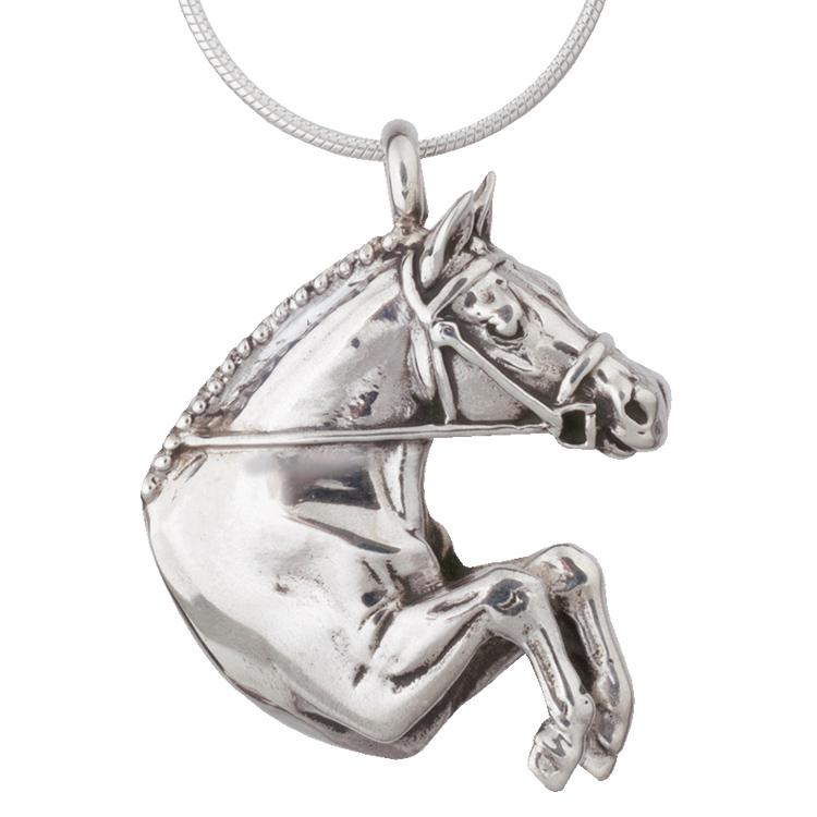 Equestrian Jumper Silver Pendant Necklace by Jane Heart