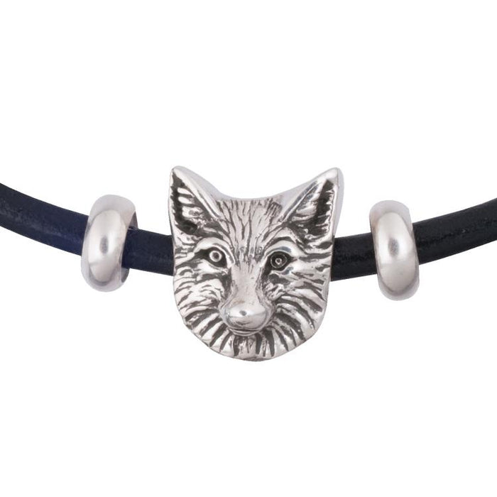 Fox Face Silver Bead Charm by Jane Heart
