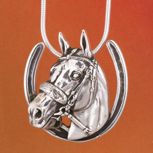 American Pharoah Silver Pendant - Horseshoe by Jane Heart