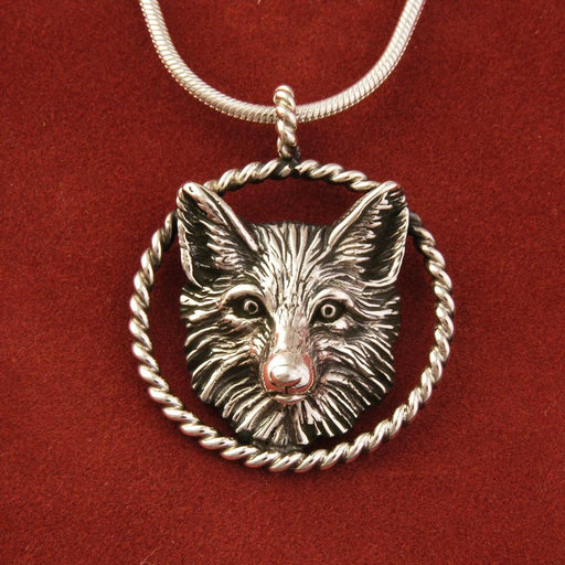 Fox Circle Rope Silver Pendant by Jane Heart