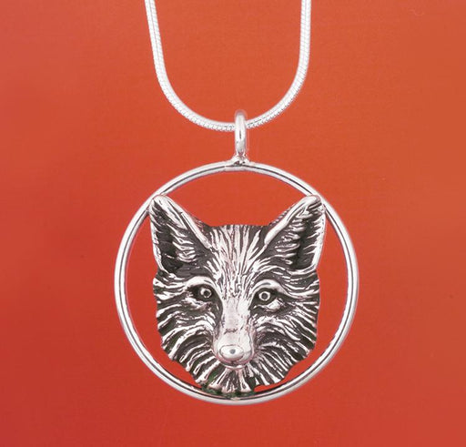 Fox Circle Silver Pendant by Jane Heart