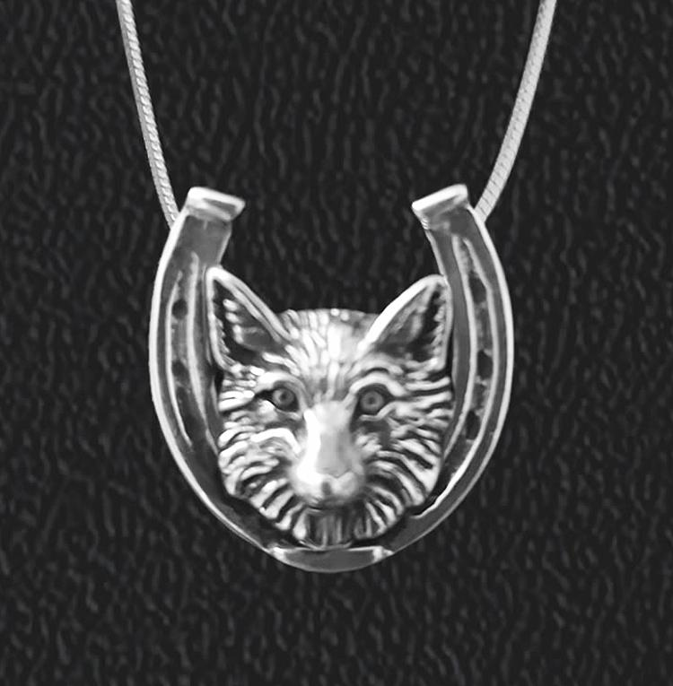 Fox in Horseshoe Sterling Pendant Necklace by Jane Heart