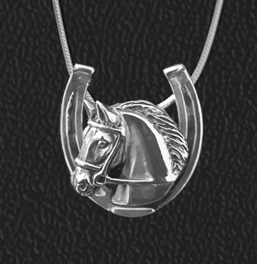 Bridled Horse in Horseshoe Sterling Pendant by Jane Heart