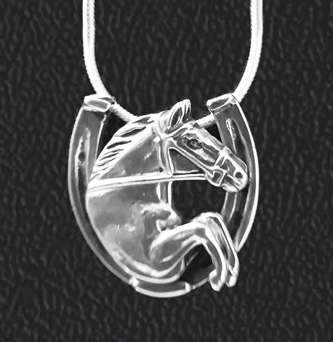 Hunter Jumper in Horseshoe Sterling Pendant by Jane Heart