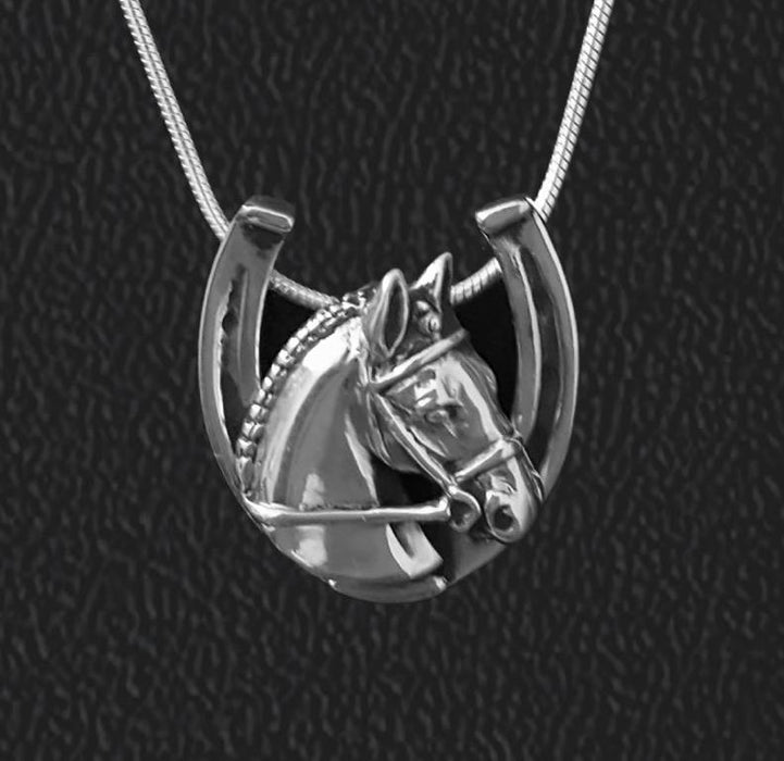 Braided Hunter in Horseshoe Sterling Pendant by Jane Heart