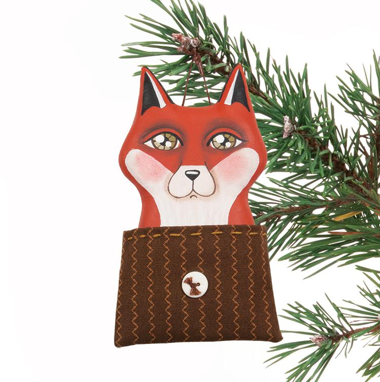 Fox in Pocket Ornament