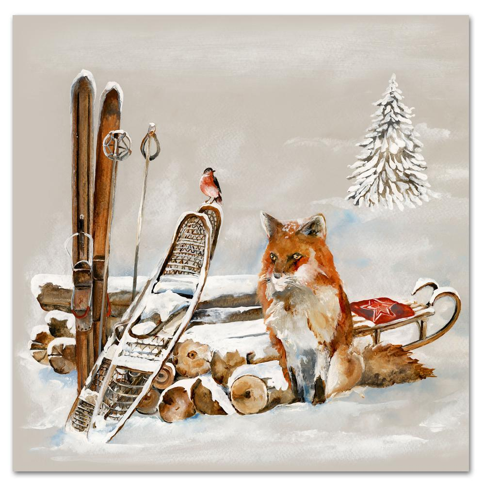 Winter Fox and Bird Paper Luncheon Napkins
