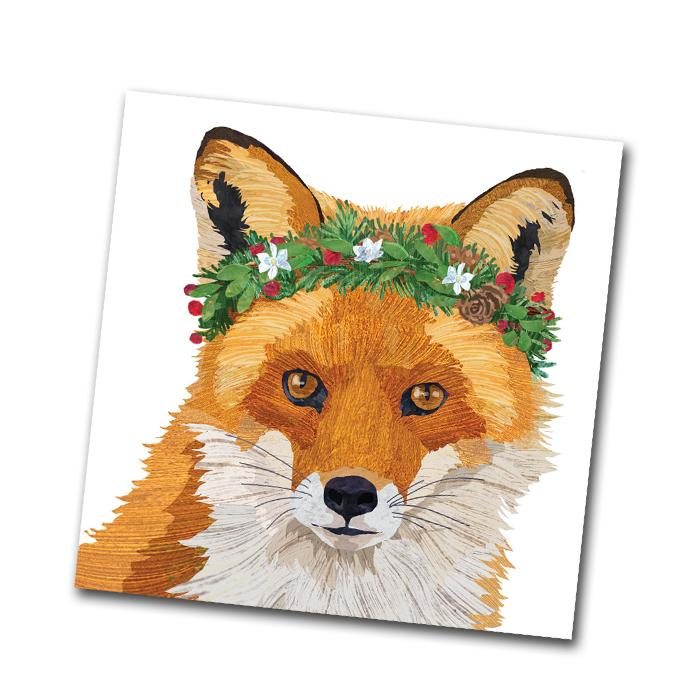 Holiday Glacier Fox Paper Napkins - Beverage