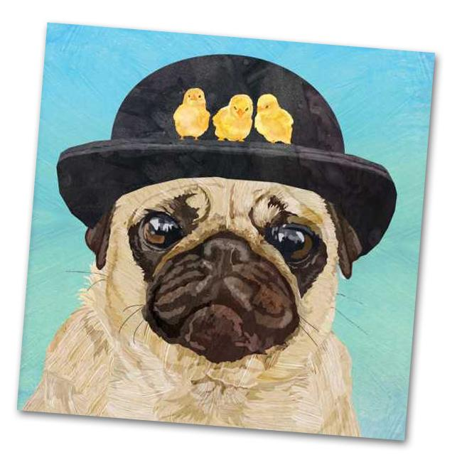 Hudson the Pug Luncheon Napkins