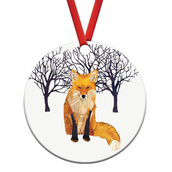 Winter Fox Porcelain Ornament