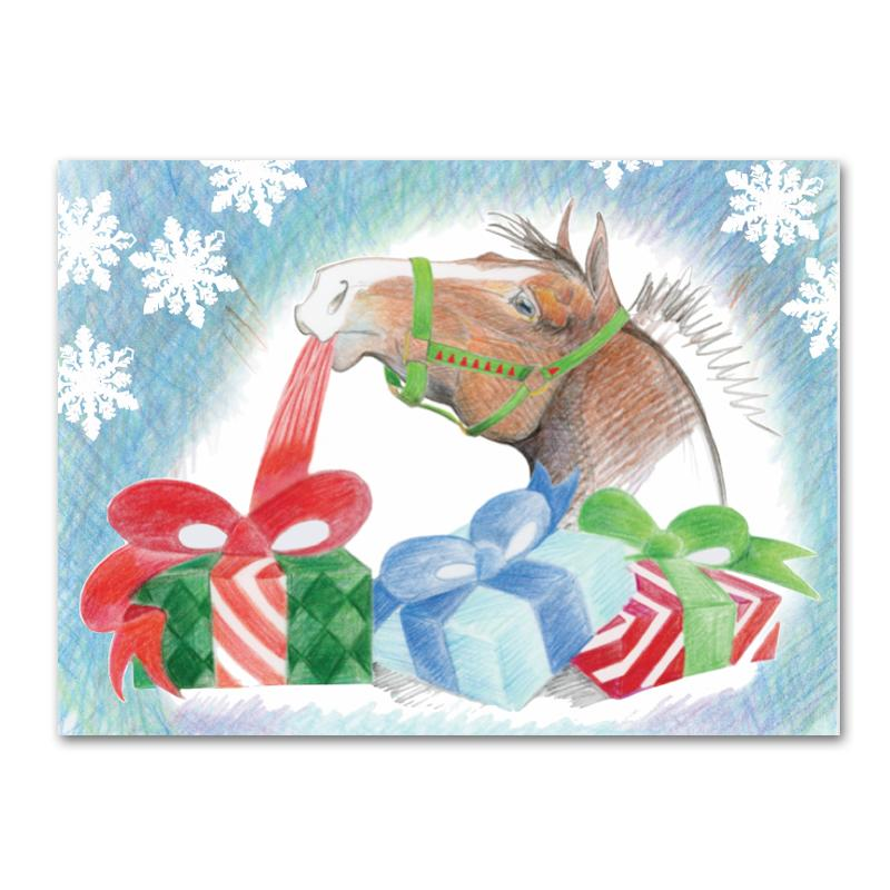 Unwrapping Gifts Horse Christmas Cards