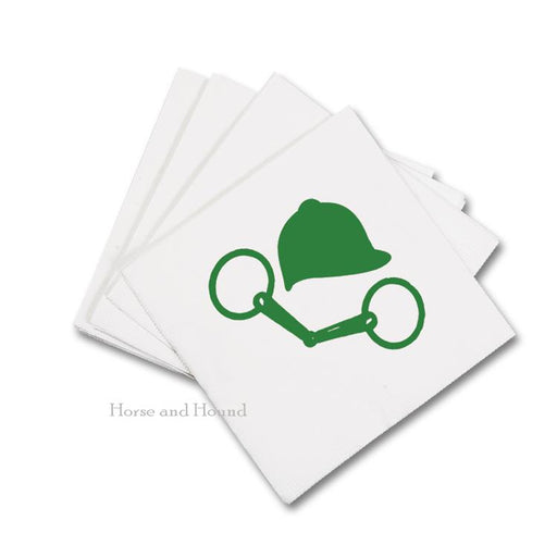 Green Bit and Helmet Equestrian Paper Beverage Napkins - Pkg 50