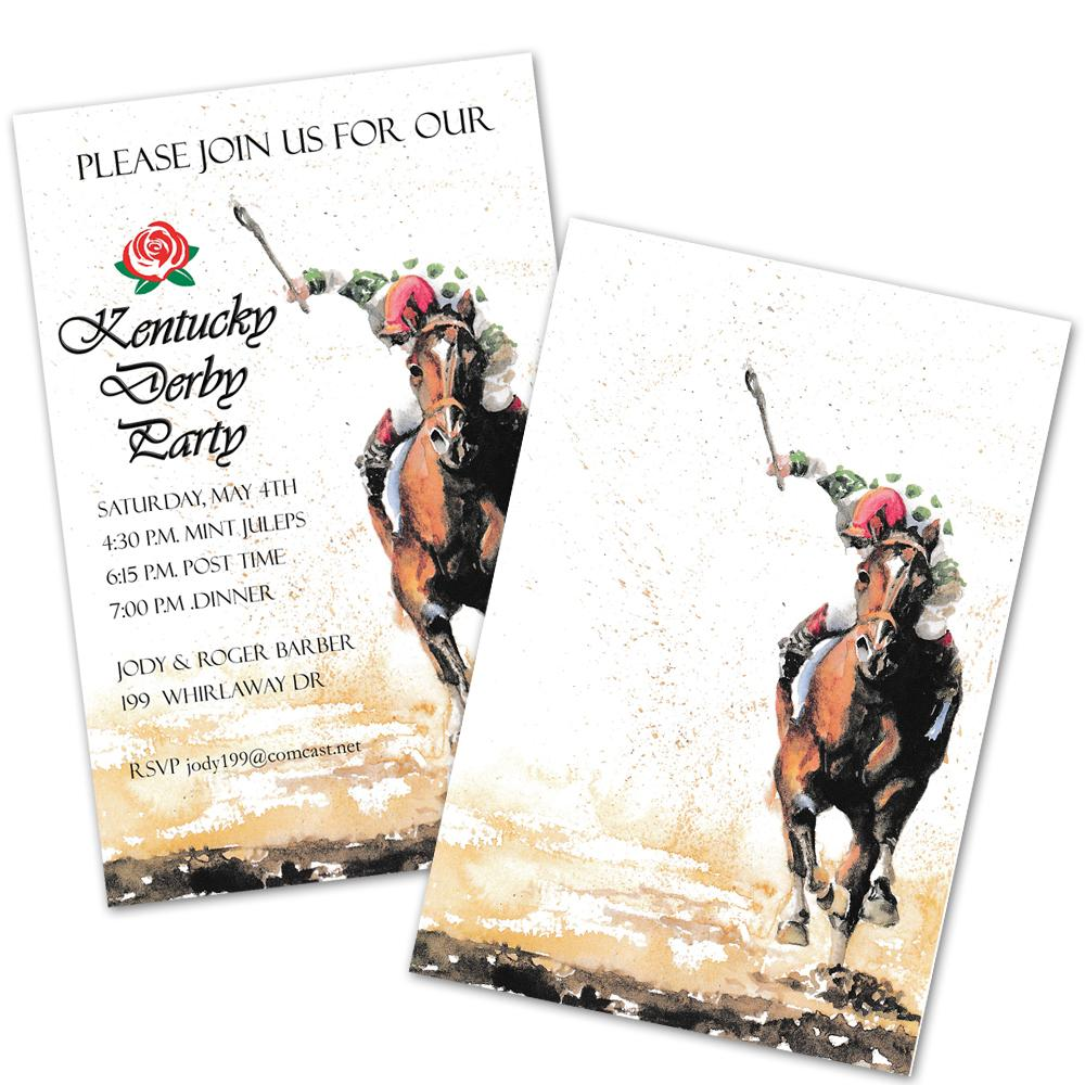 Adding Lengths Horse Racing Party Invitations