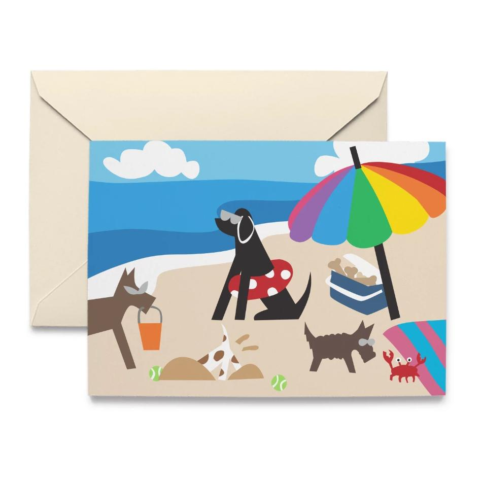 Doggie Beach Day Note Cards by R. Nichols