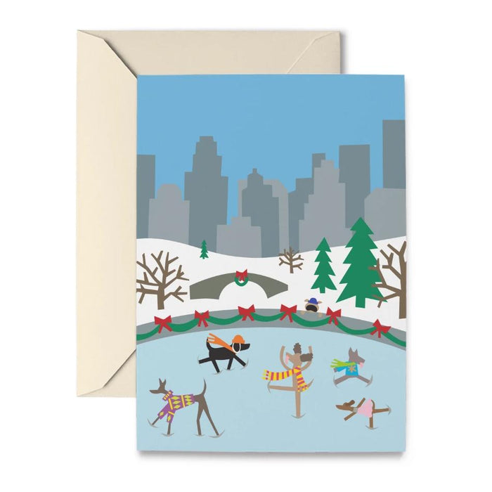 Doggie Skaters Holiday Cards by R. Nichols