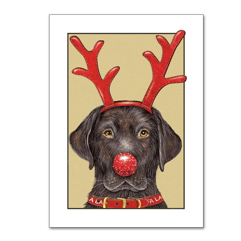 Rudolf Black Lab Christmas Cards