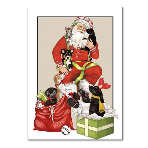 Santa and Puppies Chrstmas Cards