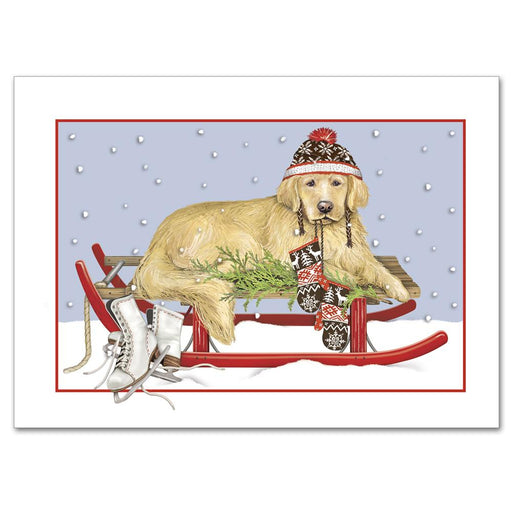 Golden Retreiver on Sled Christmas Cards