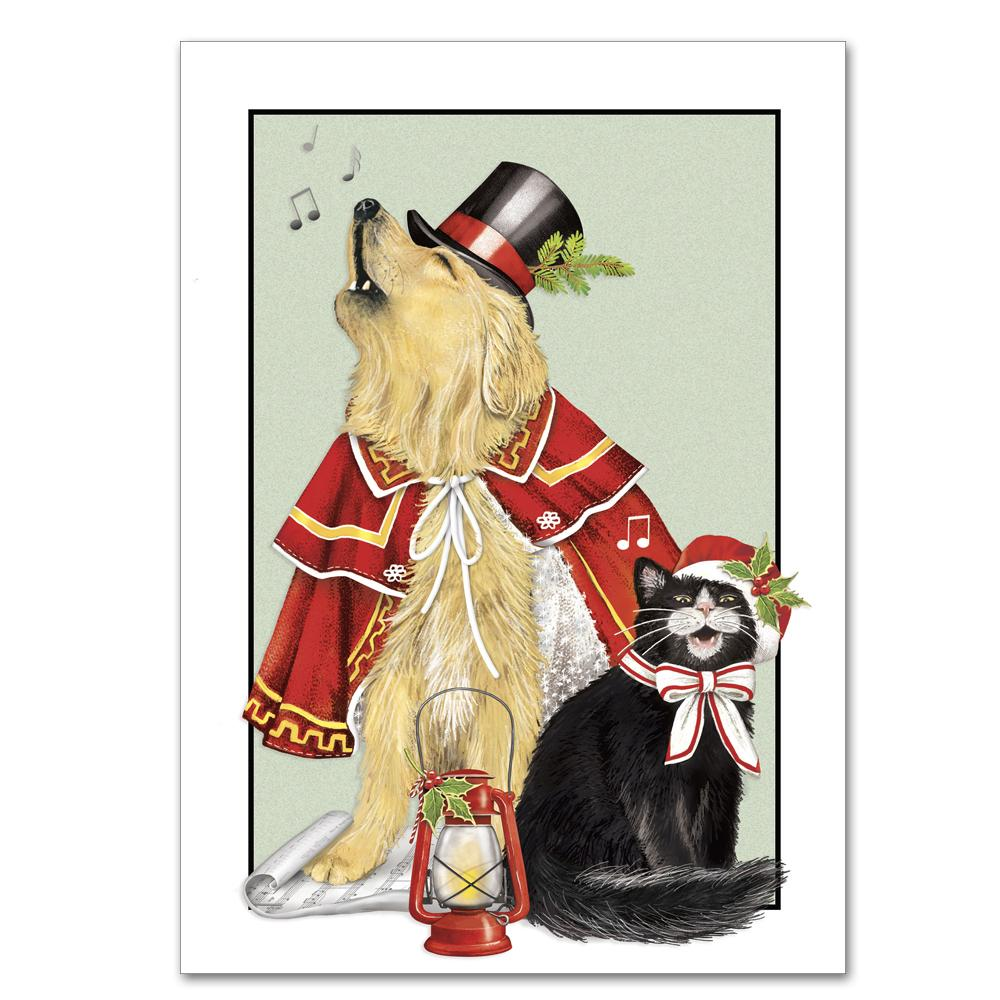Dog and Pussy Cat Carolers Christmas Cards