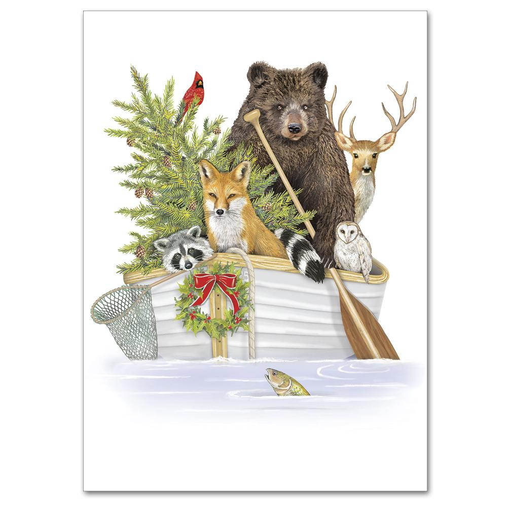 Fox and Forest Animals Christmas Cards