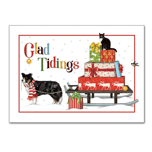Glad Tidings Dog and Pussy Cat Christmas Cards