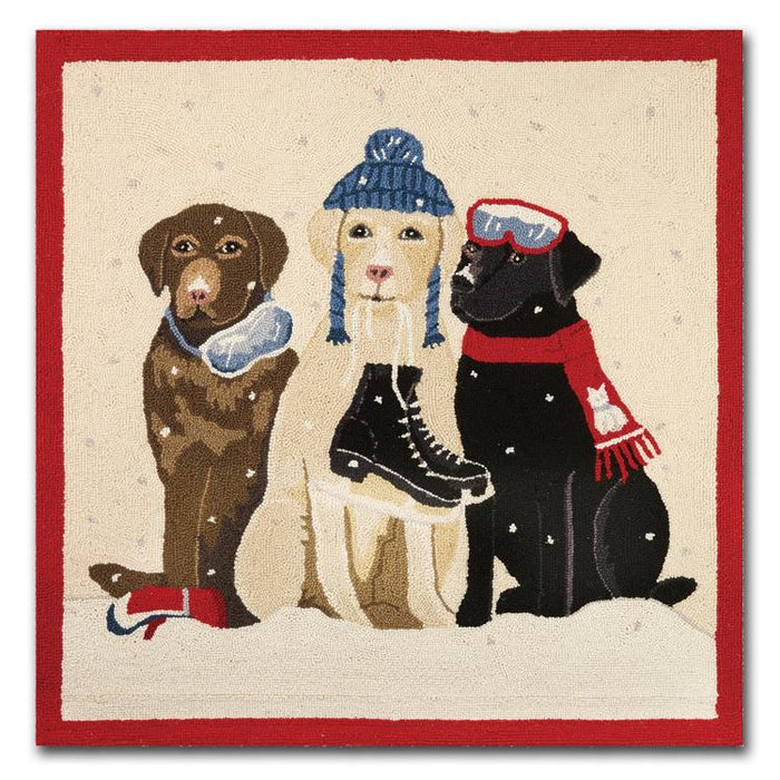 Labradors Skating Party Hooked Rug