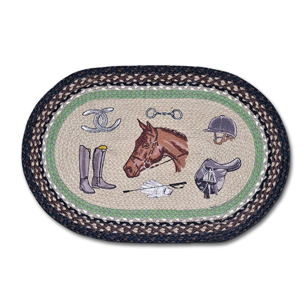 Equestrian Tack Braided Oval Accent Rug