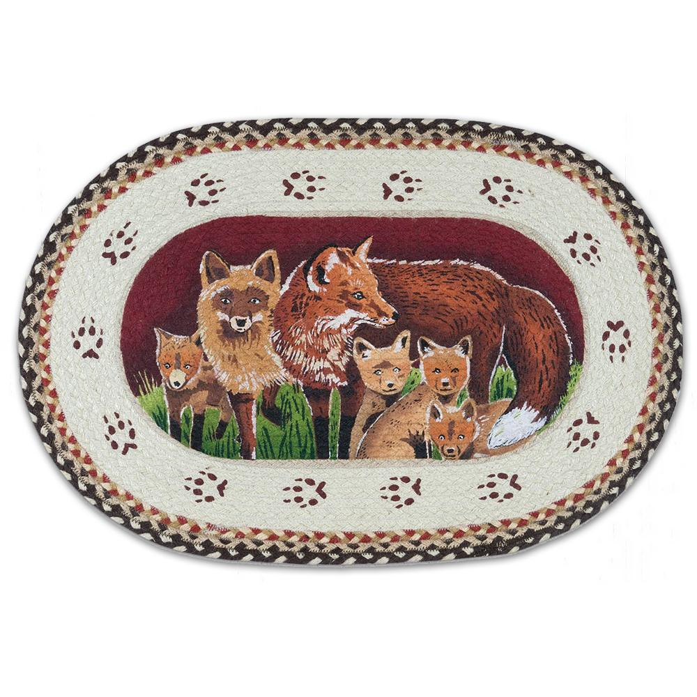 Fox Family Braided Oval Accent Rug