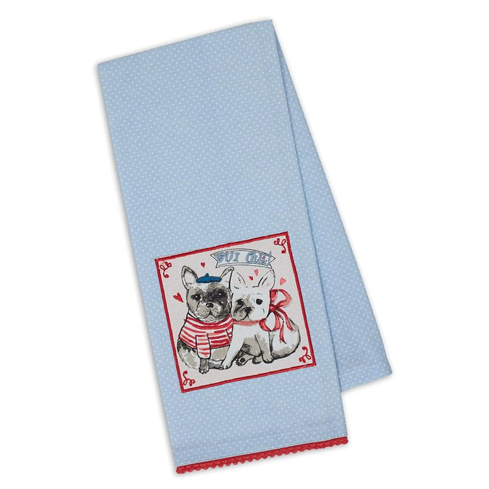 French Bulldog Love Embellished Kitchen Towel