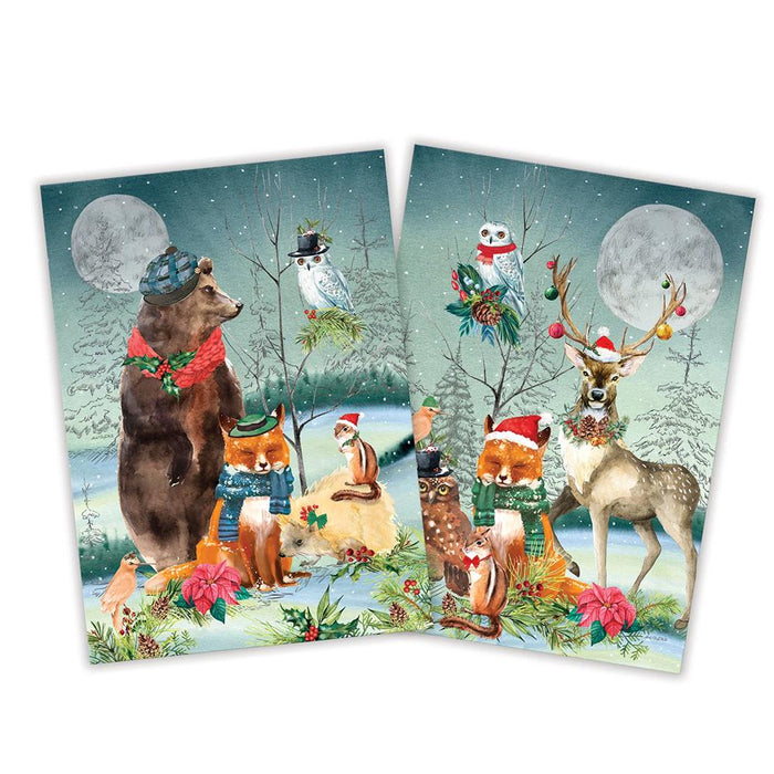 Woodland Christmas Party Kitchen Towels - 2 Assorted
