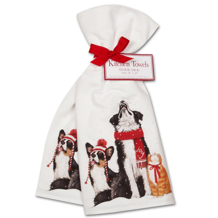 Pet's Snow Day Kitchen Towels - Set of 2