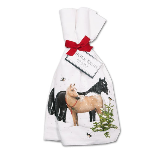 Snow Horses Kitchen Towels - Set of 2