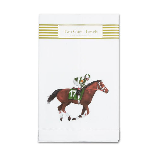 Derby Horse Linen Guest Towels  - Set of 2