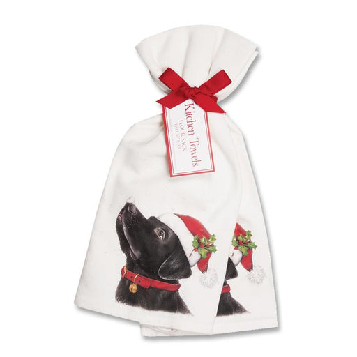 Black Lab Christmas Kitchen Towels -  - Set of 2