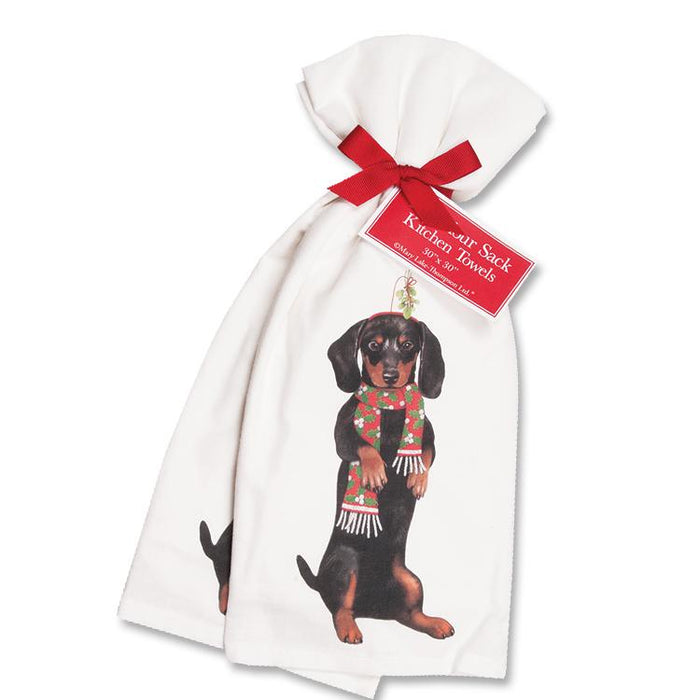 Dachshund Christmas Kitchen Towels -  - Set of 2