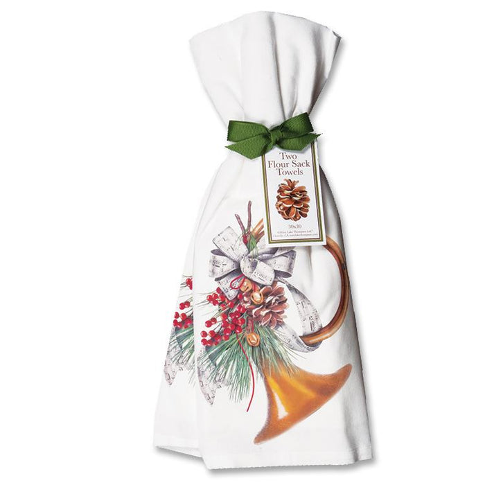 Holiday Hunting Horn Kitchen Towels  - Set of 2
