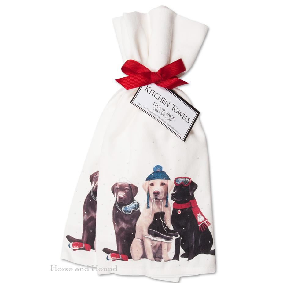 Labrador's Winter Skating Party Kitchen Towels  - Set of 2