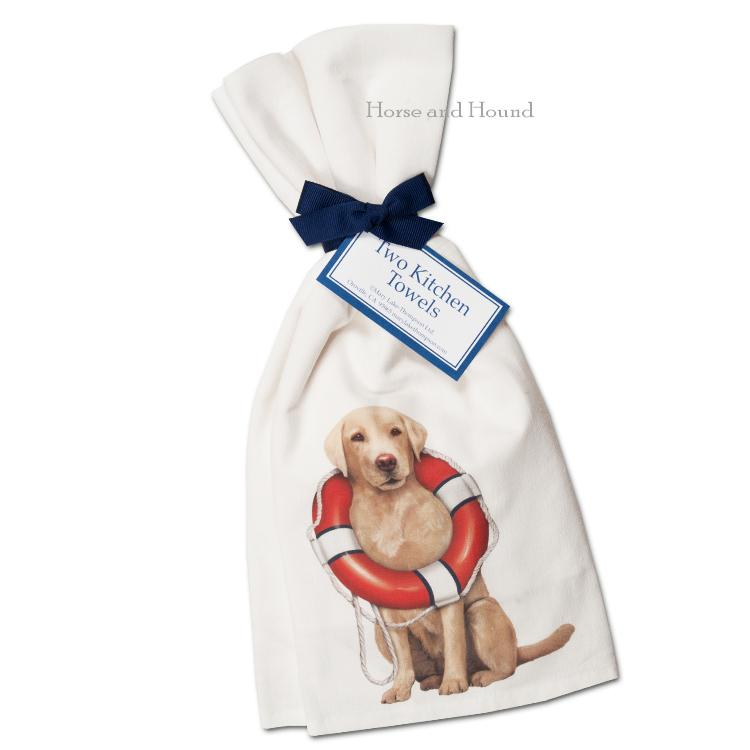 Boating Yellow Lab Kitchen Towels  - Set of 2