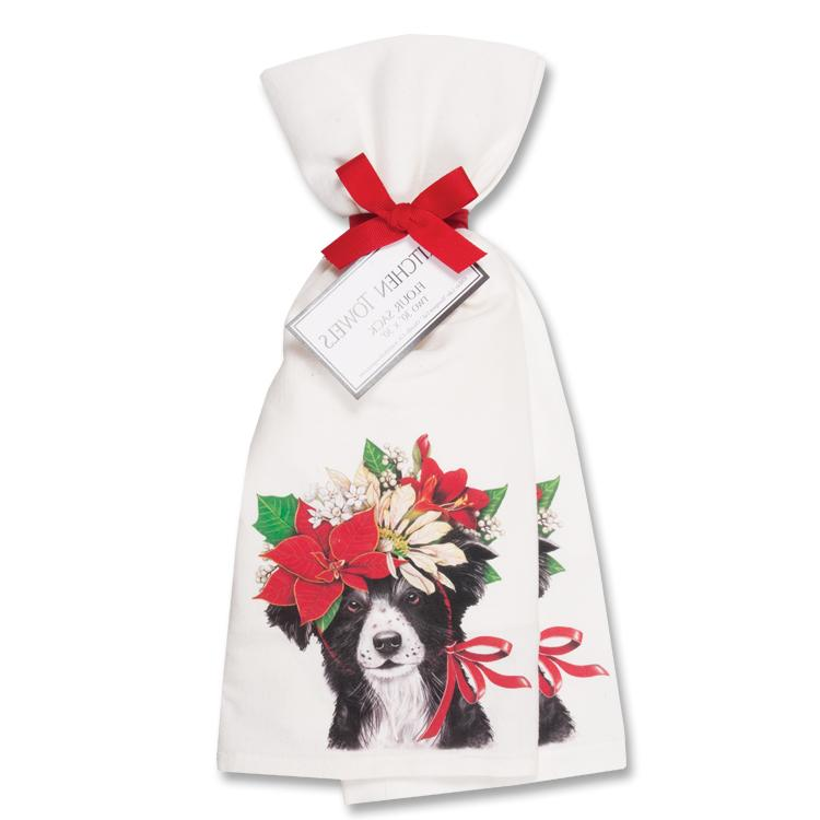 Christmas Border Collie Kitchen Towels - Set of 2