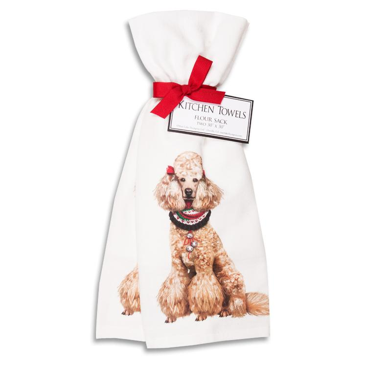 Holiday Poodle Kitchen Towels - Set of 2