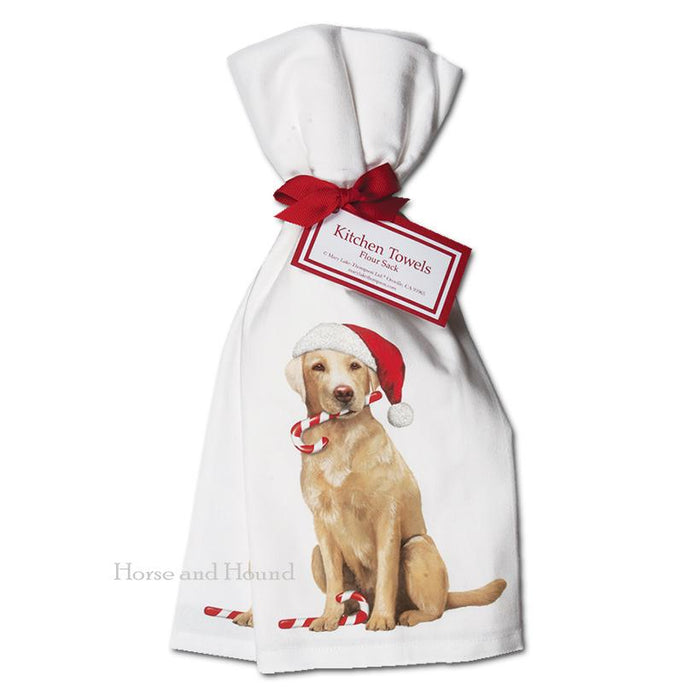 Holiday Yellow Lab Kitchen Towels  - Set of 2