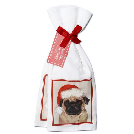 Holiday Pug Towels  - Set of 2