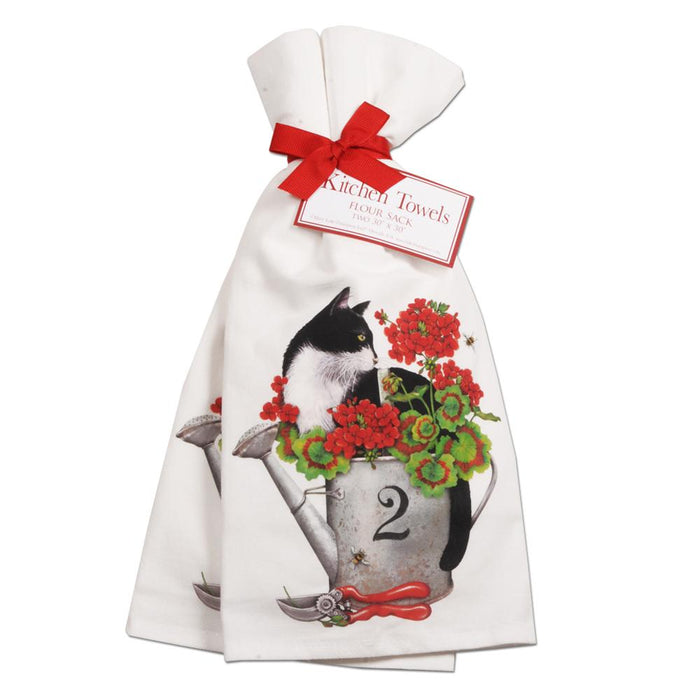 Geranium Cat Kitchen Towels - Set of 2