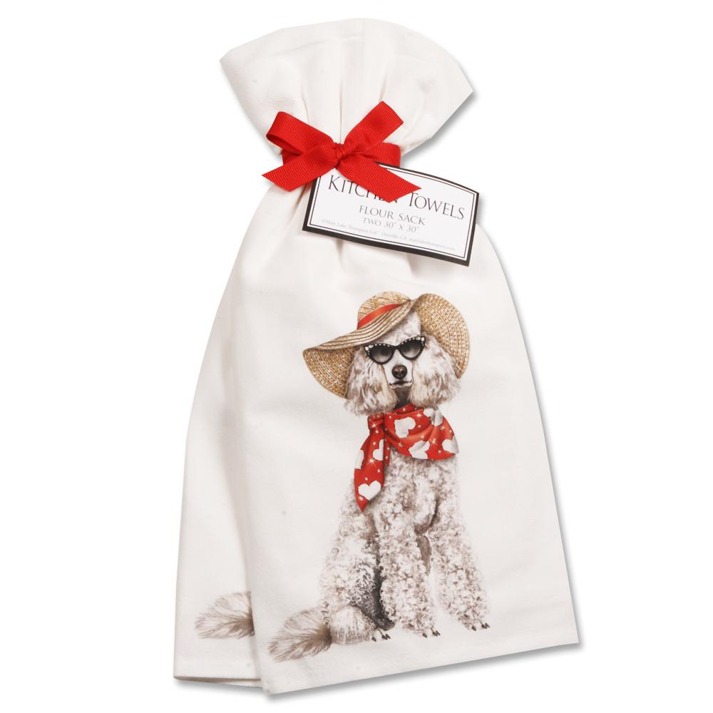 Summer Glamor Poodle Kitchen Towels - Set of 2